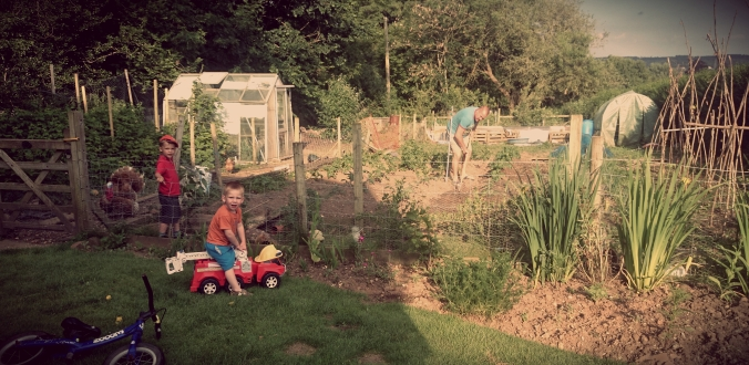 Wil and Louis watching Daddy Ivan tend the veg patch